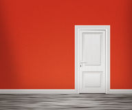 Door in the Red Wall Background Stock Images