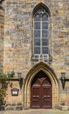Door of the reformed church in Schuttorf. Germany Royalty Free Stock Images