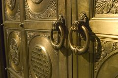 Door Rings. Bronze Door Rings royalty free stock photo
