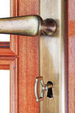 Door of the room and the door handle. Royalty Free Stock Image