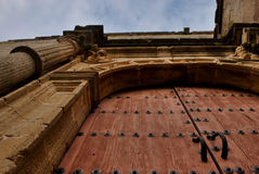Door of San Mateo's church in Caceres, Spain Royalty Free Stock Photos