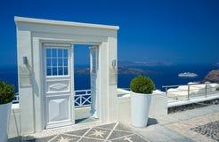 Door in Santorini. White door in Santorini, Greece stock photos