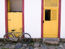 Door scene, Paraty, Brazil. Door and Bicycle, Paraty, Brazil Stock Image