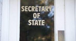 Door with Secretary of State on it. royalty free stock images