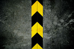 Door with security warning. Dark security metal closed door with danger warning - black yellow stripes - under construction Royalty Free Illustration