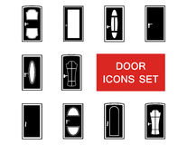 Door set with red signboard Royalty Free Stock Image