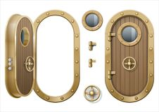 Door of the ship. The door and window of the ship polishing metal. Perhaps the door compartment of the submarine or laboratory, bank. Armor. Vector graphics stock illustration