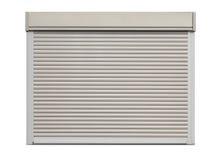 Door shutter. White metal roller door shutter background and texture stock image
