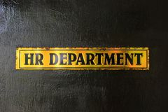 HR. HR department. Human Resources. Old plate on the door HR department Stock Images