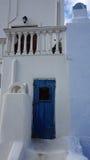 Door in small greece village exo gonia on santorini Stock Image