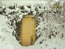 Door in snow. Door to storm cellar, heavy snow, Bottle Creek Retreat, Beatrice, Nebraska Stock Photography