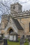 The door of St Mary`s Church, Bibury. A view of the Grade 1 listed St Mary`s Church, Bibury, Gloucestershire Stock Image