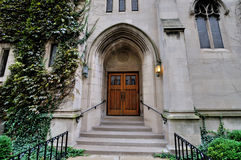 Door and stage of church in downtown of Chicago. External door and stage of church locates in downtown of Chicago Royalty Free Stock Image
