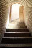Door and staircase. Open door and staircase down to underground Royalty Free Stock Image