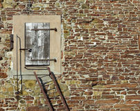 Door in stone wall Stock Photo