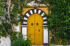 Door on the street of charming coastal town Sidi Bou Said close to Tunis capital. Tunisia royalty free stock photography