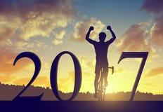 Door:sturen aan het Nieuwjaar 2017 Stock Afbeeldingen