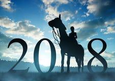 Door:sturen aan het Nieuwjaar 2018 stock foto