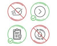 Door:sturen, Checkbox en Weigerings geplaatste controlelijstpictogrammen Het teken van het nieuwe vullingswater Volgende Goedgeke vector illustratie