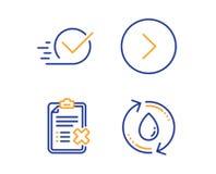Door:sturen, Checkbox en Weigerings geplaatste controlelijstpictogrammen Het teken van het nieuwe vullingswater Volgende Goedgeke stock illustratie