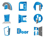 Door symbols and icons. Door. Set elements for use as a emblem or icon Stock Images