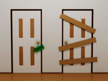Door with tag open and boarded door. 3D Stock Photos