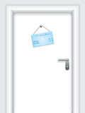 Door with timetable label Royalty Free Stock Images