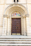 The door to the Church of St. Nicholas in the city of Leskovac, Serbia stock image