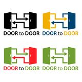 Door to door with colorful door icon, flat design. EPS file available. see more images related vector illustration