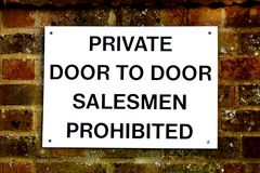 Door to Door Salesmen Prohibited Sign Royalty Free Stock Photos