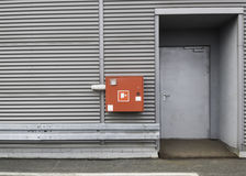 Emergency doors. The door to evacuate people in case of fire in the parking lot shopping mall Royalty Free Stock Photography