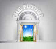 Door to the future concept. Future door concept. A conceptual illustration for a happy verdant future of a door opening onto a field of lush green grass Royalty Free Stock Photography