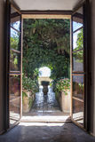 Door to the garden. Open door to the garden in Chopin Museum, Valldemossa, Mallorca, Spain Royalty Free Stock Photography