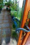 Tropical glass greenhouse entrance door Stock Photo