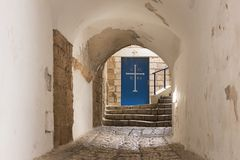 Door to the Greek Church of St. Michael on the Lane signs of the zodiac at night in on old city Yafo in Tel Aviv-Yafo in Israel stock images