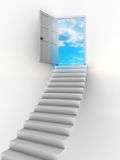 Door to heaven. Abstract 3d illustration of stairway and door to heaven Royalty Free Stock Photography