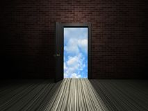 Door to heaven. Unclosed room door. abstract image of liberation Royalty Free Stock Photos