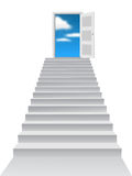 Door to heaven. Stairs and the door to heaven isolated on the white background Stock Photos