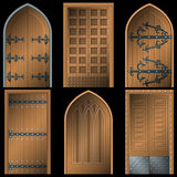 Door to the Middle Ages on a black background Stock Image