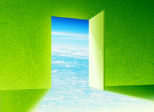 Door to new world. Entrance to beautiful peaceful natural world. Grass walls and sky view Stock Illustration