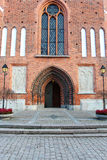 The door to the old church in Vasteras city in Sweden Stock Photography