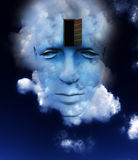 The Door To A Open Mind 12. A very abstract and conceptual image of a mans face, all about imagination and open mindness Royalty Free Stock Images