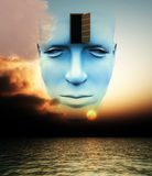 The Door To A Open Mind. A very abstract and conceptual image of a mans face, all about imagination and open mindness Royalty Free Stock Photo