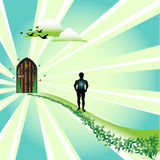 Door to paradise. Abstract colorful illustration with clouds, wild ducks flying, a path with green plants leading to a wooden door and a male silhouette  walking Royalty Free Stock Photos