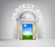 Door to the Perfect Job. Perfect Job door concept. A conceptual illustration for a happy verdant future of a door opening onto a field of lush green grass Stock Photos
