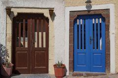 Door to the private house in traditional Cyclades village Pyrgos Stock Photo