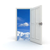Door to the sky. White door open to the sky on white background Royalty Free Stock Image