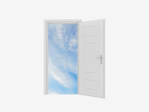 Door to Sky. Opened white door to clear sky on white background Stock Image