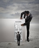 The door to success. A businessman drawing the door to success Stock Photography