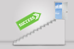 Door to success with a stairs and direction Stock Photo